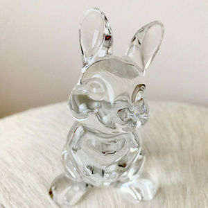 Clear Crystal Glass Bunny Figurine Paperweight